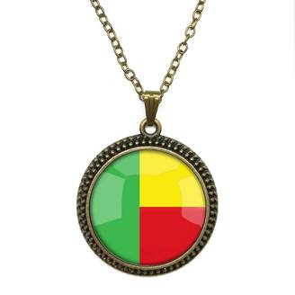 By Zoé Precious Stone The Republic of Benin National Flag Design Silver Necklace for Valentine's Day STORE