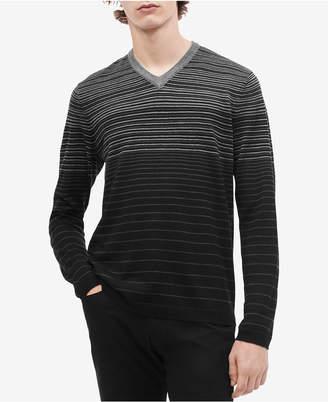 Calvin Klein Men's Gradient Colorblocked Stripe V-Neck Sweater