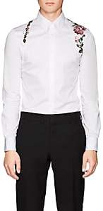 Alexander McQueen Men's Rose-Embroidered Cotton Harness Shirt - White