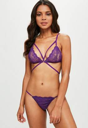 Missguided Purple Strappy Lace Triangle Bra