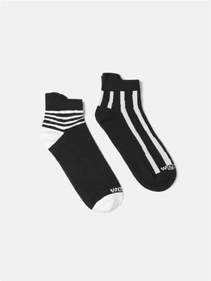 Wesc Clay Uneven Stripe Quarter Cut Socks, 2 Pack