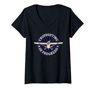 Womens Cropdusting in Progress Crop Dusting Duster Plane V-Neck T-Shirt