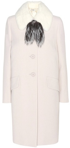 Miu Miu Miu Miu Wool Crêpe Coat With Fur Collar