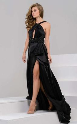 Jovani - 48085 Halter Neck High Slit Satin Evening Gown $680 thestylecure.com