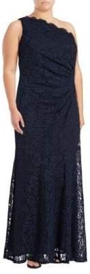 Decode 1.8 One-Shoulder Glitter Lace Sheath Dress
