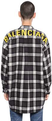 Balenciaga Logo Printed Check Cotton Flannel Shirt