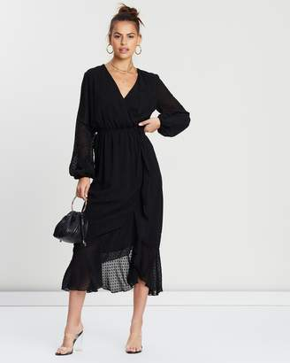 Missguided Dobby Asymmetrical Midi Dress