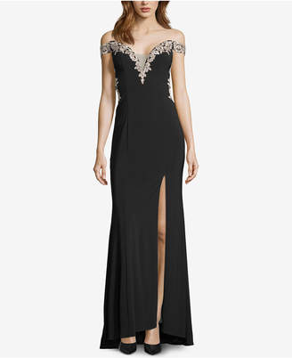 Betsy & Adam Embroidered Off-The-Shoulder Gown