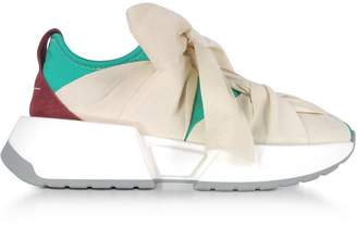MM6 MAISON MARGIELA Mm6 Maison Martin Margiela Green Red And Ecru Nylon And Leather Bow Sneakers