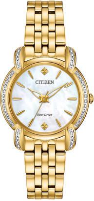 Citizen Eco-Drive Women Jolie Diamond-Accent Gold-Tone Stainless Steel Bracelet Watch 30mm