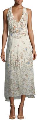 Haute Hippie Andalusia Halter V-Neck Open-Back A-Line Midi Dress