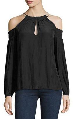 Ramy Brook Heidi Cold-Shoulder Top, Black $325 thestylecure.com