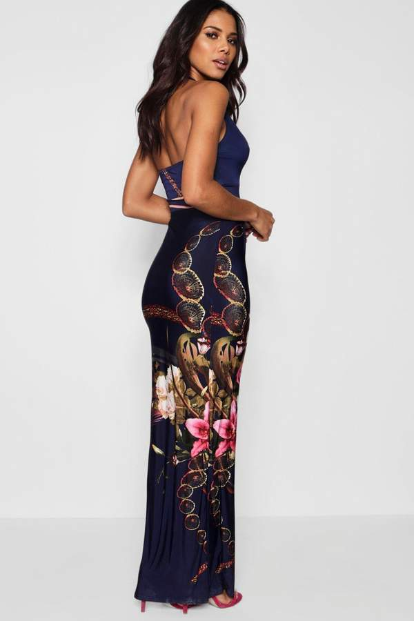 boohoo Bethany Boarder Print Halter Neck Maxi Dress