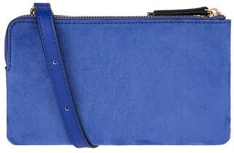 Accessorize Womens Blue Double Zip Cross Body Bag - Blue