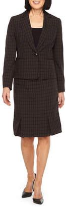Le Suit Windowpane Skirt Suit