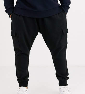Burton Menswear Big & Tall cargo joggers in black