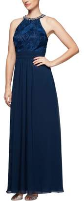 Alex Evenings Crystal Embellished Halter Gown