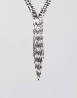 Asos DESIGN statement necklace in crystal with fringing in gunmetal