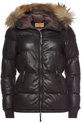 Parajumpers Scarlet Leather Jacket with Fur-Trimmed Hood
