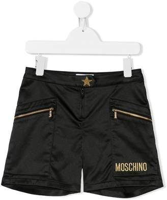 Moschino Kids zip embellished shorts