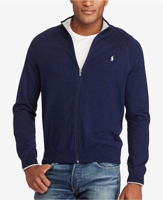 Polo Ralph Lauren Men's Big & Tall Full-Zip Pima Track Jacket $135 thestylecure.com