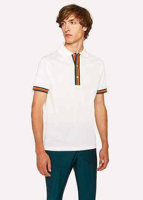 Paul Smith Men's Slim-Fit White Cotton-Pique Polo Shirt With 'Artist Stripe' Details