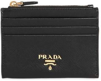 Prada Saffiano Leather Zip Card Holder