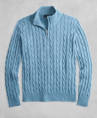 Brooks Brothers Golden Fleece 3-D Knit Alpaca-Blend Half-Zip Cable Sweater
