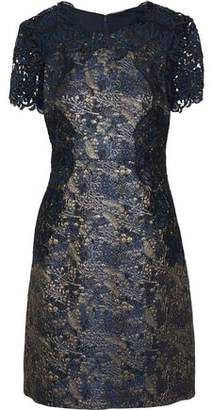 Elie Tahari Galina Guipure Lace-Paneled Brocade Mini Dress