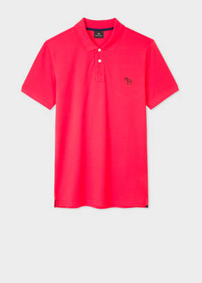 Paul Smith Men's Slim-Fit Red Embroidered 'Zebra' Polo Shirt