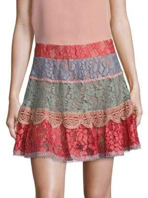 Alexis Zowie Tiered Lace Mini Skirt