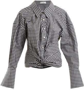 Caroline Constas Kos Twist Detail Gingham Cotton Shirt - Womens - Black White