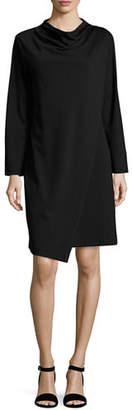 Joan Vass Long-Sleeve Drape-Front Knit Dress, Plus Size