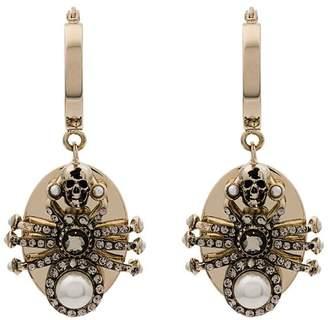 Alexander McQueen metallic pearl embellished spider earrings