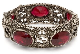 Gucci Crystal Embellished Bracelet - Womens - Red