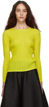 Pleats Please Issey Miyake Yellow Pleated Sweater