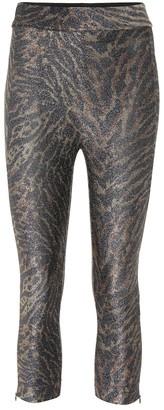 Ganni Tiger-print lurex jersey leggings