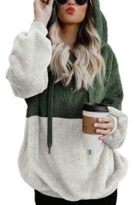 0006adff9dd maweisong Women s Long Sleeve Front 1 4 Zipper Sherpa Hoodie Sweatshirt  Pockets M