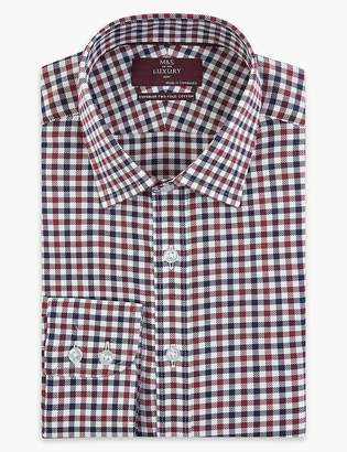 Marks and Spencer Pure Cotton Checked Slim Fit Oxford Shirt