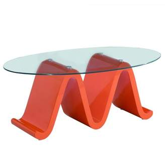 Fab Glass and Mirror The Wave Elegant Glass Coffee Table Design With High Glossy Designer Orange Base