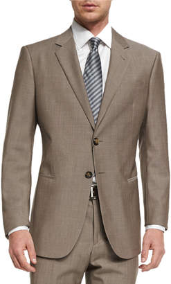 Giorgio Armani Taylor Solid Sharkskin Two-Piece Wool Suit, Tan