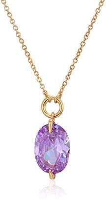 Halston H Light Amethyst CZ Stone Pendant Necklace