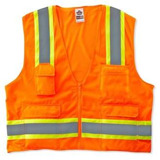 GloWear 8248Z ANSI Two-Tone Surveyors Reflective Safety Vest, Orange, 4XL/5XL, Solid front, mesh back, zipper closure. Two-tone design and lots o'.., By Ergodyne