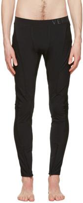 Versace Underwear Black Panelled Leggings $525 thestylecure.com