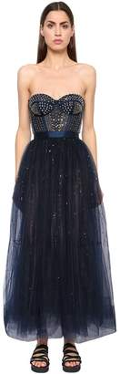 Temperley London Silk Satin & Sequined Tulle Dress