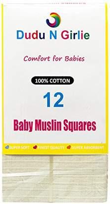 Dudu N Girlie 100 Percent Cotton Baby Muslin Squares, 70 cm x 70 cm, 12-Piece, Cream/White