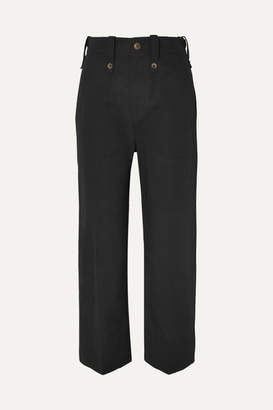 Bassike Cotton And Linen-blend Drill Tapered Pants - Black