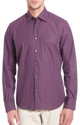 Saks Fifth Avenue Plaid Long Sleeve Shirt
