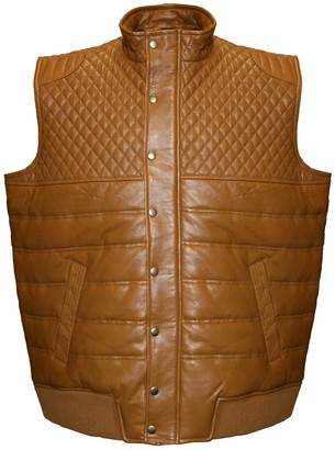 Men's Franchise Club Geo Quilted Satin-Lined Lambskin Leather Vest