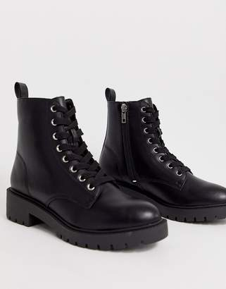 New Look lace up flat boots in black